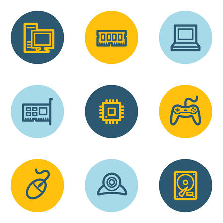 Computer web icons, blue and yellow circle buttons Vector