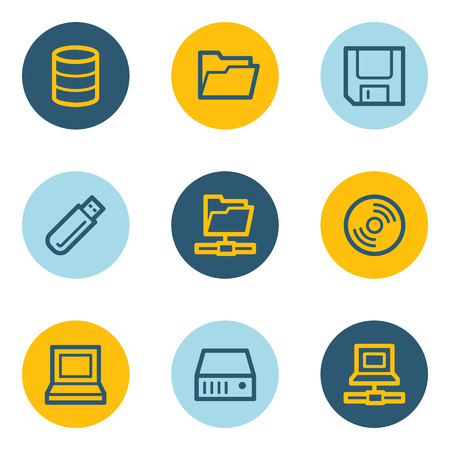 fdd: Drive and storage web icon set, blue and yellow circle buttons