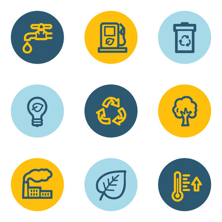 Ecology web icon set 1, blue and yellow circle buttons Vector