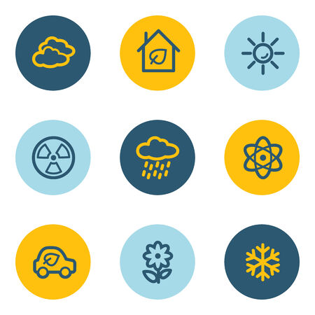 Ecology web icon set 2, blue and yellow circle buttons Vector