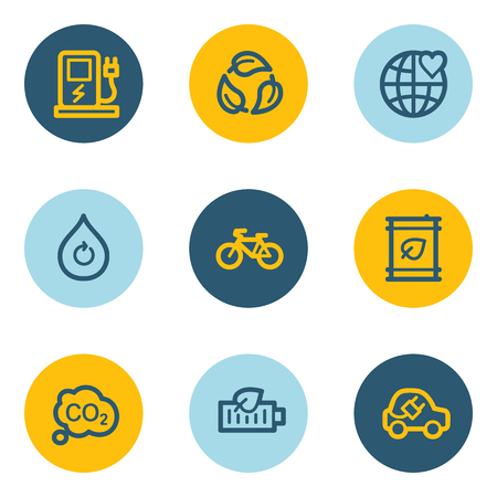 Ecology web icon set 4, blue and yellow circle buttons