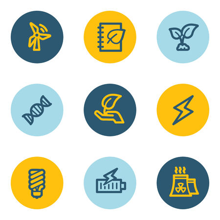 Ecology web icon set 5, blue and yellow circle buttons Vector