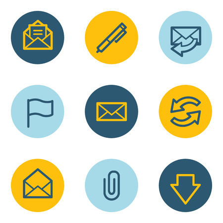 E-mail web icons, blue and yellow circle buttons Vector