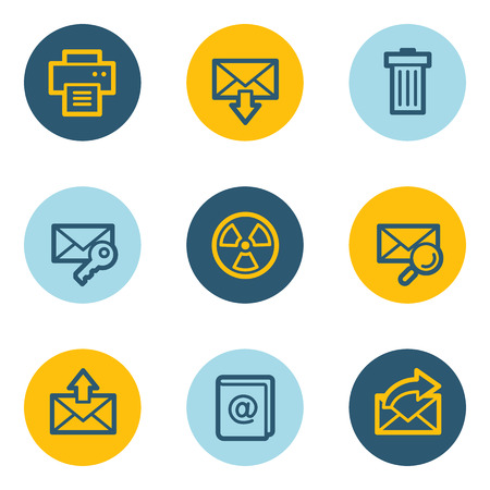 E-mail web icon set 2, blue and yellow circle buttons