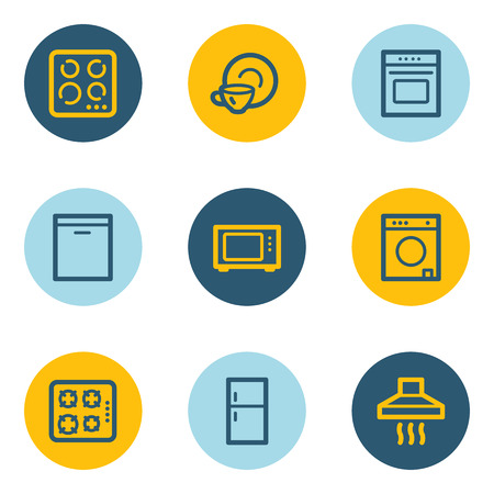 gas laundry: Home appliances web icons, blue and yellow circle buttons