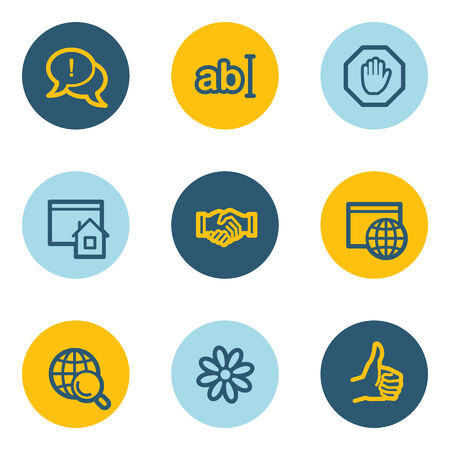 icq: Internet web icon set 1, blue and yellow circle buttons