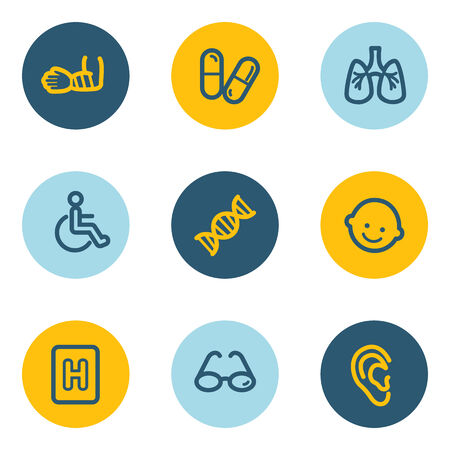 Medicine web icon set 2, blue and yellow circle buttons Vector
