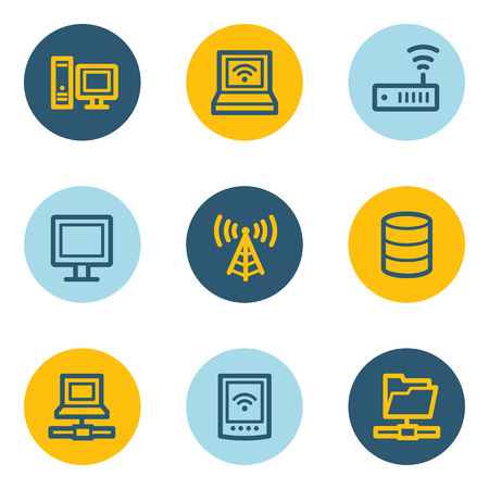 Network web icons , blue and yellow circle buttons Illustration