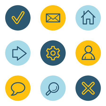 Basic  web icons, blue and yellow circle buttons Vector
