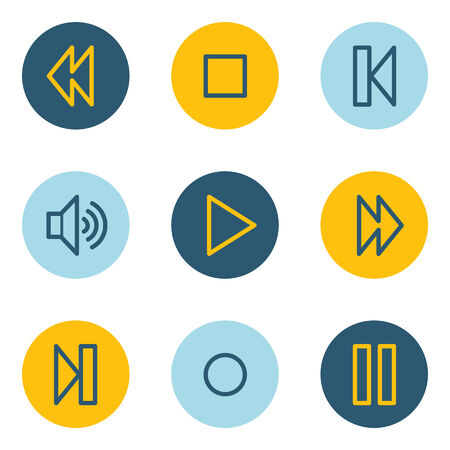 pause button: Media player web icons , blue and yellow circle buttons Illustration