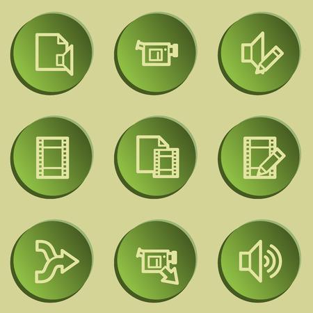 audio video: Audio video edit web icons, green paper stickers set