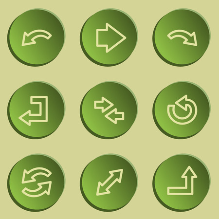 Arrows web icon set 1 , green paper stickers set Vector