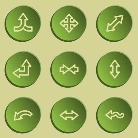 web 2: Arrows web icon set 2 , green paper stickers set
