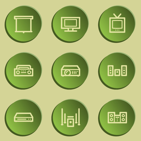 audio video: Audio video web icons, green paper stickers set