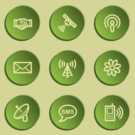 green paper: Communication web icons, green paper stickers set Illustration
