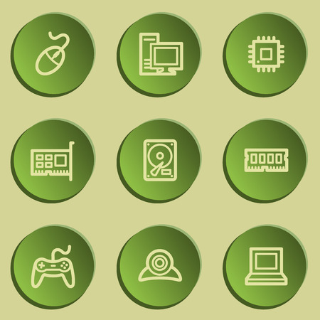 green paper: Computer web icons, green paper stickers set