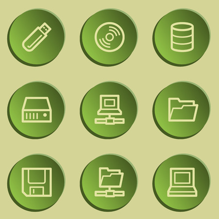 Drives and storage web icons, green paper stickers set Illustration