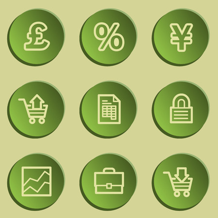 E-business web icons, green paper stickers set Vector