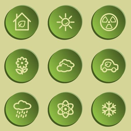 web 2: Ecology web icon set 2, green paper stickers set