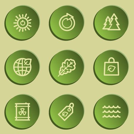 radioactive waste: Ecology web icon set 3, green paper stickers set