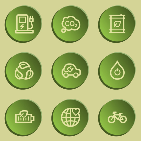 electro world: Ecology web icon set 4, green paper stickers set Illustration