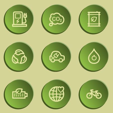 Ecology web icon set 4, green paper stickers set Illustration