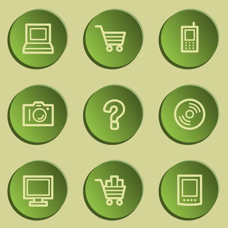 Electronics web icon set 1, green paper stickers set Vector