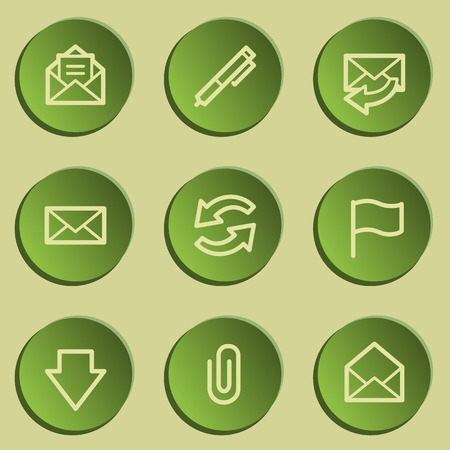 webmail: E-mail web icons, green paper stickers set