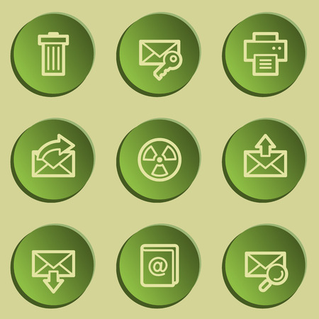 web 2: E-mail web icon set 2, green paper stickers set