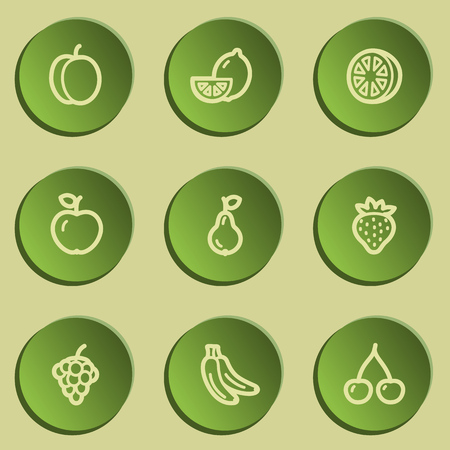 Fruits web icons, green paper stickers set Vector