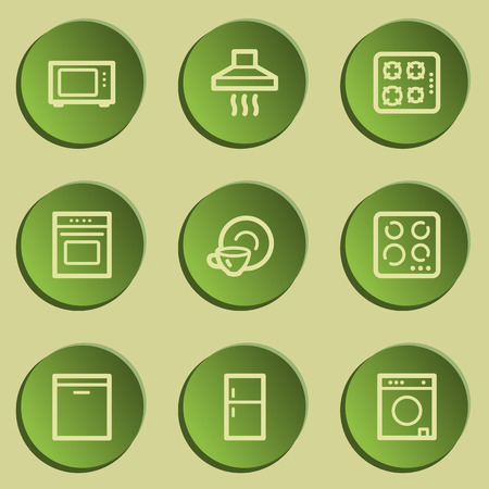 laundry washer: Home appliances web icons, green paper stickers set