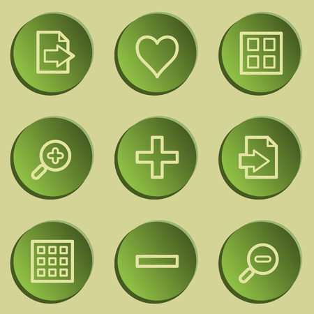 viewer: Image viewer web icon set 1, green paper stickers set
