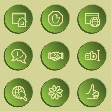 Internet  web icon set 1, green paper stickers set Vector