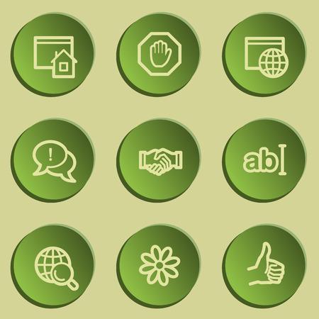 icq: Internet  web icon set 1, green paper stickers set Illustration