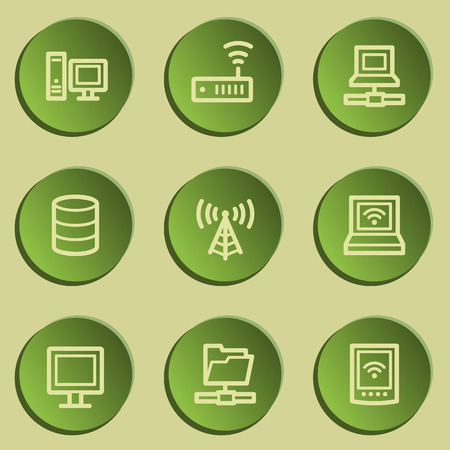 Network web icons , green paper stickers set Illustration