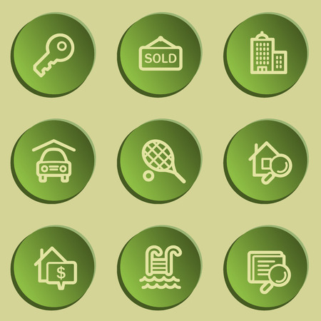 swimming pool home: Real estate web icons , green paper stickers set