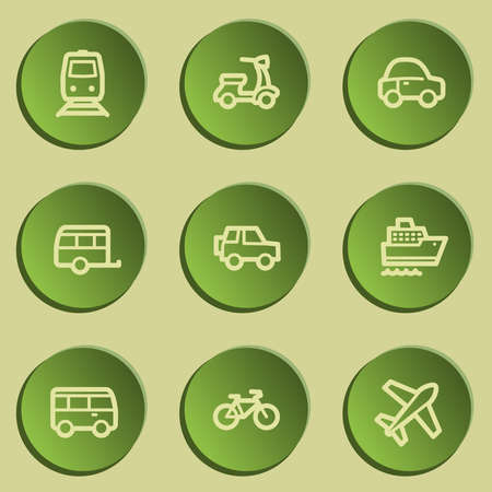 Transport web icons , green paper stickers set Vector