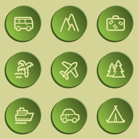 air liner: Travel  web icon set 1,  green paper stickers set