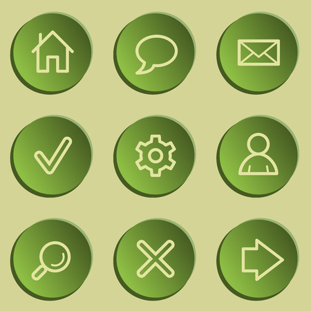 Basic  web icons , green paper stickers set Vector