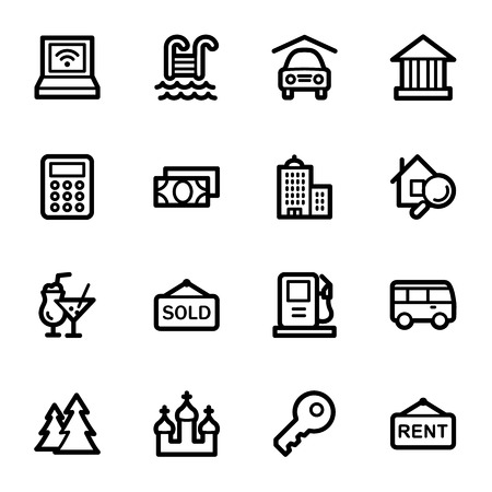 Travel web icons set Vector