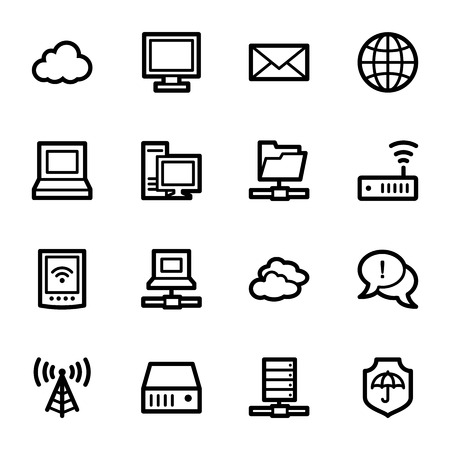 Cloud computing & internet icons set Vector