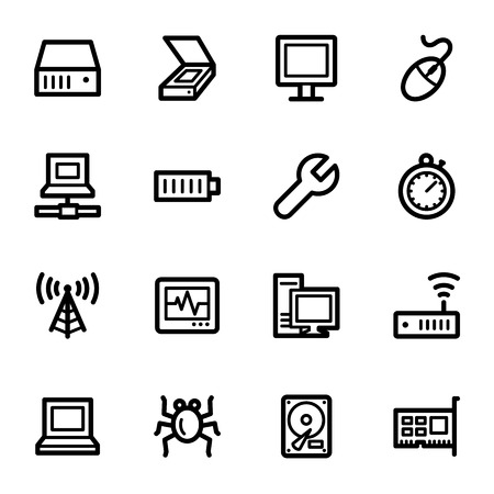 Computer components web icons set Vector