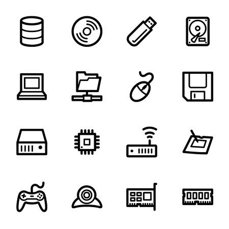 floppy drive: Computer components web icons set