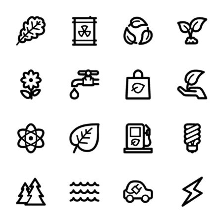 Green ecology web icons set Vector
