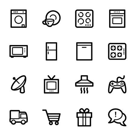 gas laundry: Home appliances web icons set Illustration