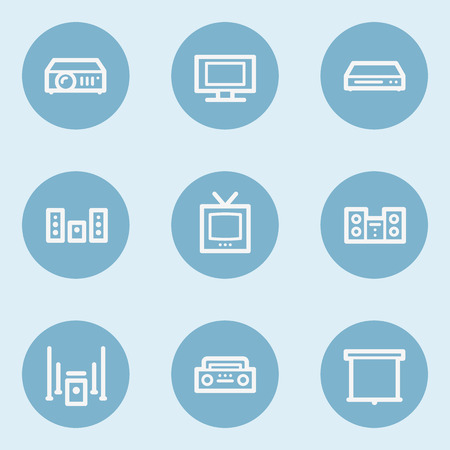 blue buttons: Audio video web icons, blue buttons