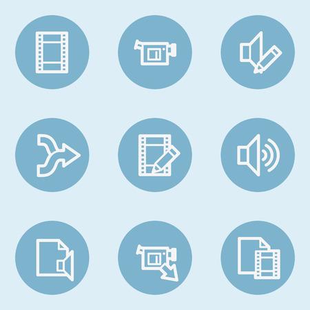 audio video: Audio video edit web icons,  blue buttons