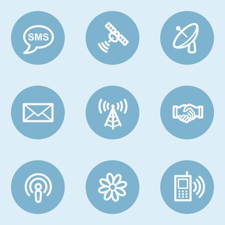 blue buttons: Communication web icons,  blue buttons