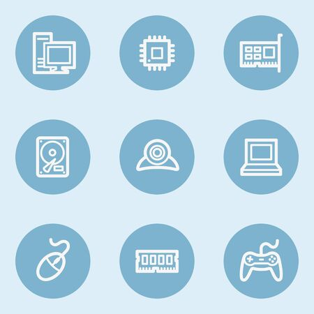 webcamera: Computer web icons,  blue buttons Illustration