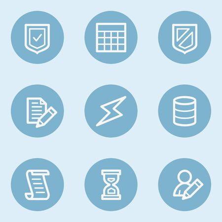 blue buttons: Database web icons,  blue buttons